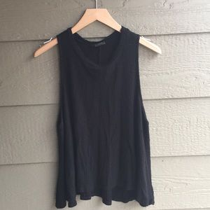 Tops - Black swingy waffle high neck casual tank top